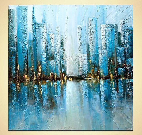Pintura con textura sobre lienzo turquesa azul ciudad - Pintura azul turquesa ...