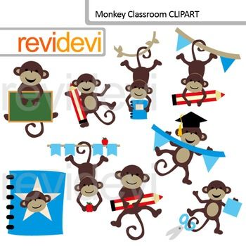 Monkey Classroom Clip Art / Back to school clipart. Cute monkeys with banners, book, pencil, chalkboard, and apple.Clipart set for teachers and educators. Great resource for any school and classroom projects such as for creating bulletin board, printable, worksheet, classroom decor, craft materials, activities and games, and for more educational and fun projects.You will receive:- Each clipart saved separately in PNG format, 300 dpi with transparent background.- Each clipart saved separately…