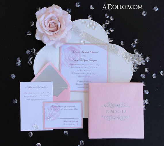 Unique Romatic Light Pink & Silver Sparkling Rose Boxed