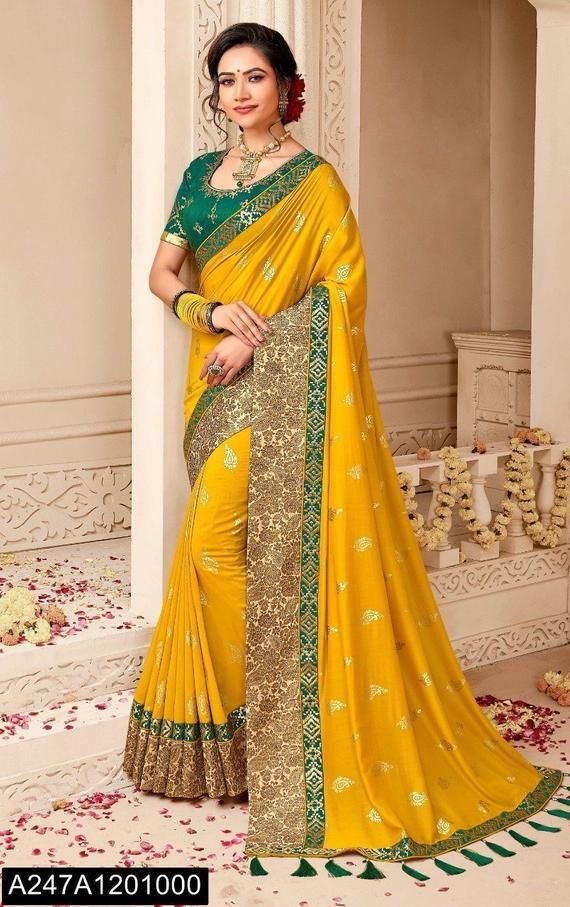 Photo of Sabyasachi Silk saree heavy party wear saree wedding saree heavy border pure silk saree