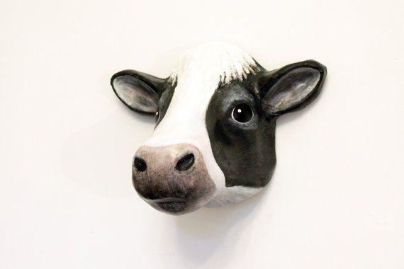 Cow Head Wall Decoration Wall Mount Art Sculpture Faux Etsy Sculpture Art Cow Head Cow