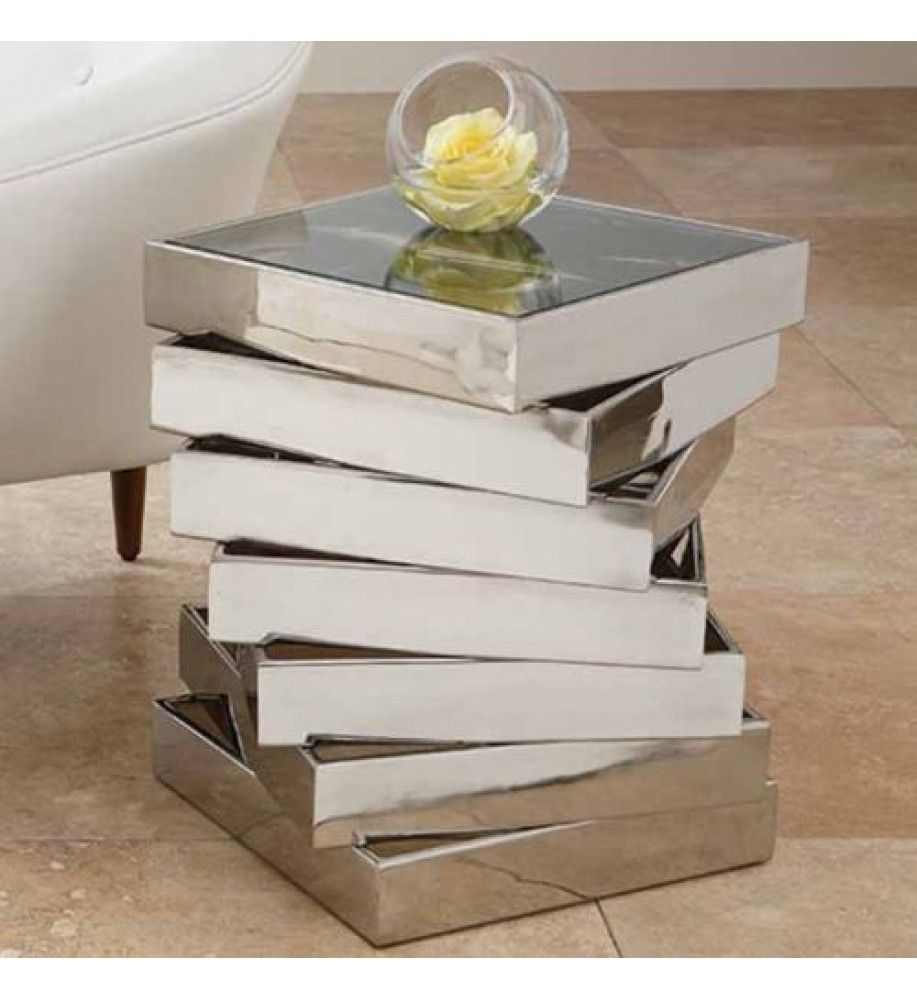 mirrored side table. Abstract Mirrored Side Table