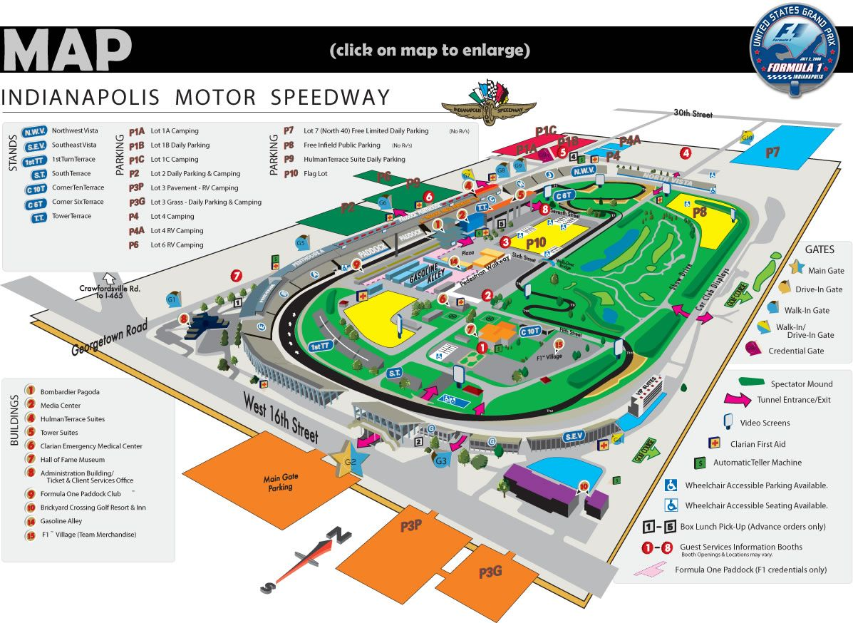 Indianapolis motor speedway map a modern infield road for Indianapolis motor speedway indianapolis in