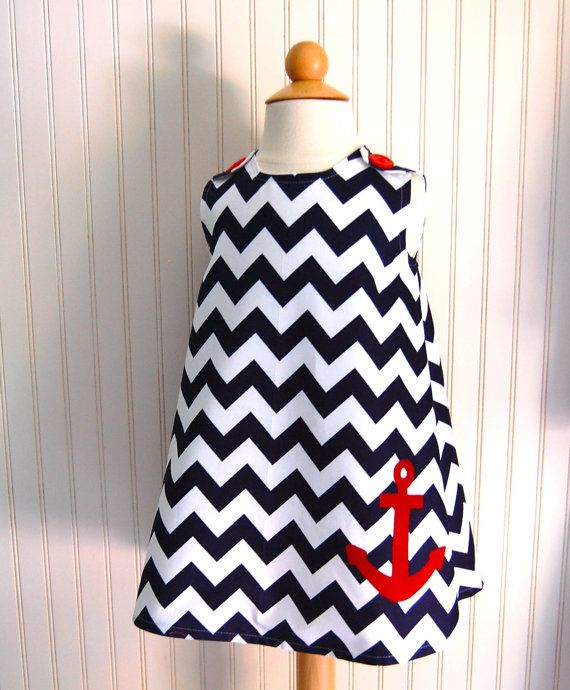 Anchor #Chevron Dress in Navy Blue and Red  Jumper by thetrendytot, $52.00
