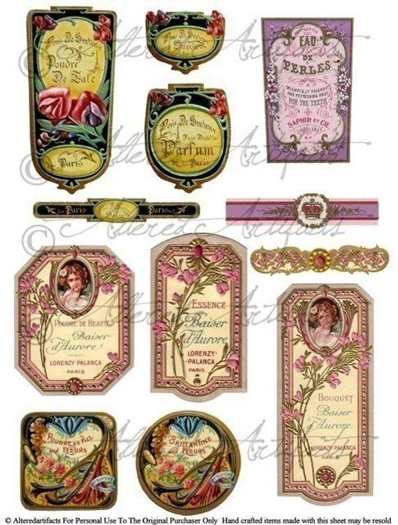 Printable Vintage French Perfume Labels Digital Bottle Labels