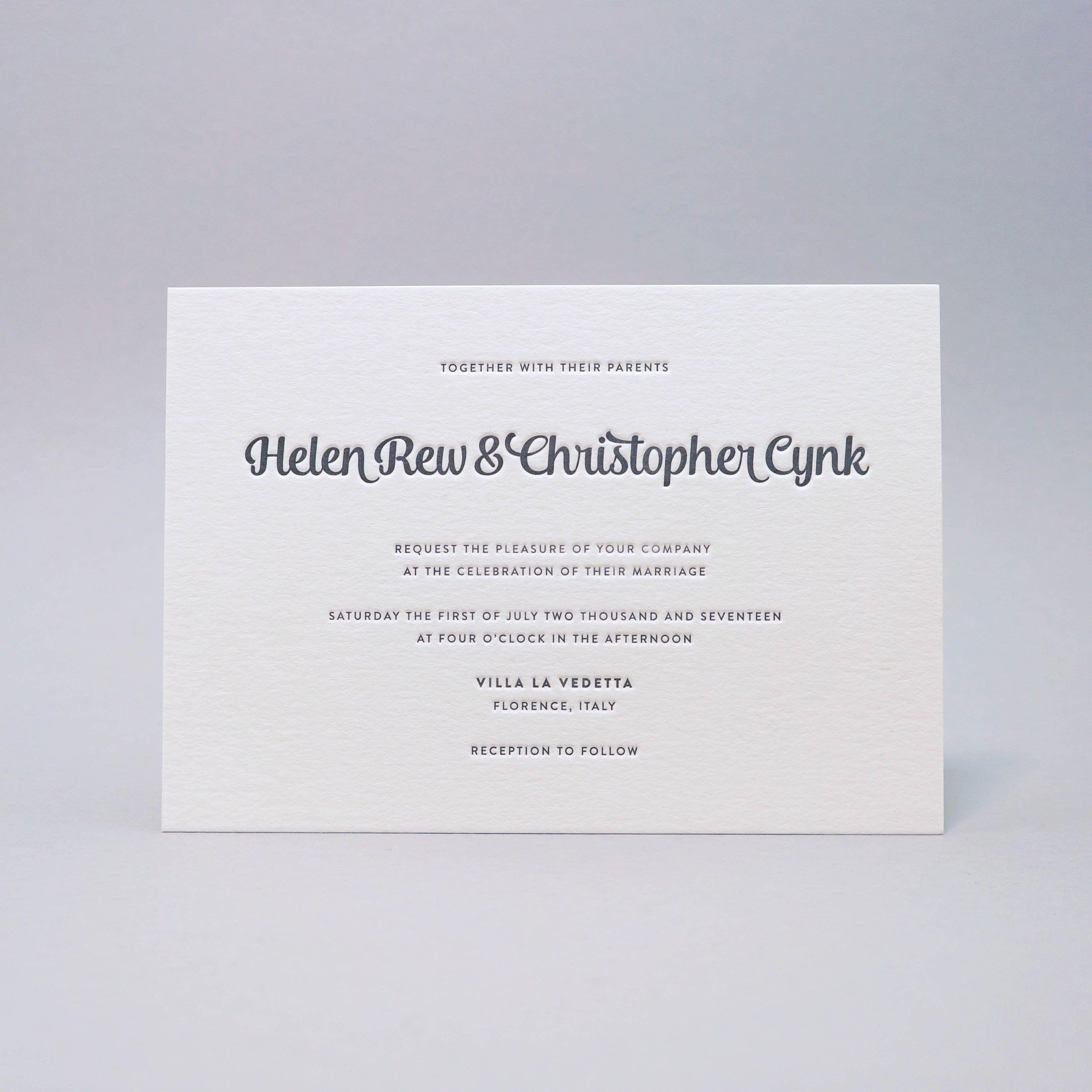 Helen u christopher crafted by dud letterpress wedding invitations