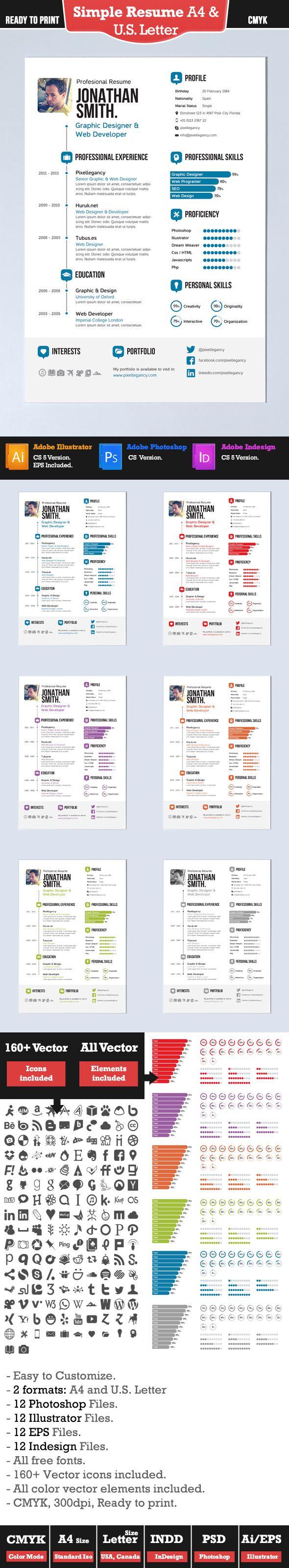 Currículum Vitae Simple en Formato A4 y US Letter   cv   Pinterest ...