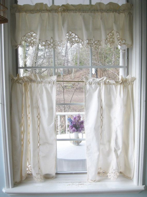 Curtains Three Piece Set Battenburg Lace Valance Cafe Curtains Ecru Shabby French Vintage Cottage Charm English Cottage Decor Curtains Vintage Curtains