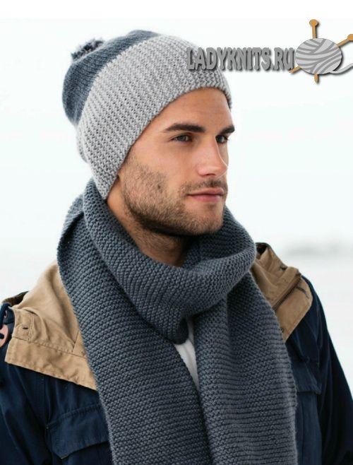 простая мужская шапка и шарф спицами вязаные мужские шапки