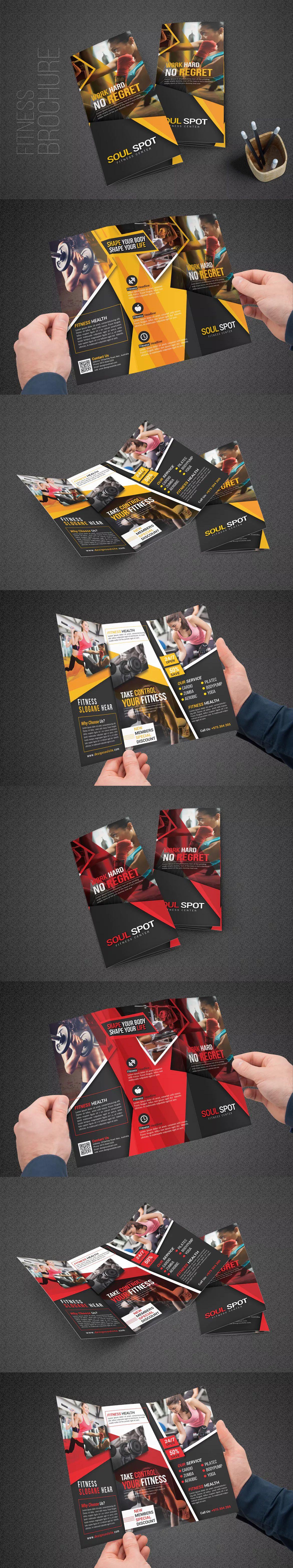 Fitness Tri Fold Brochure Template Psd Geometric Shape Pinterest