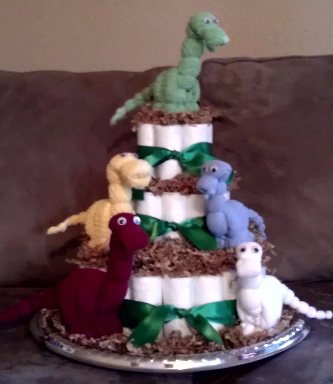 """3 Tier """"Dinosaur"""" Diaper Cake Corner Stork Bakery"""