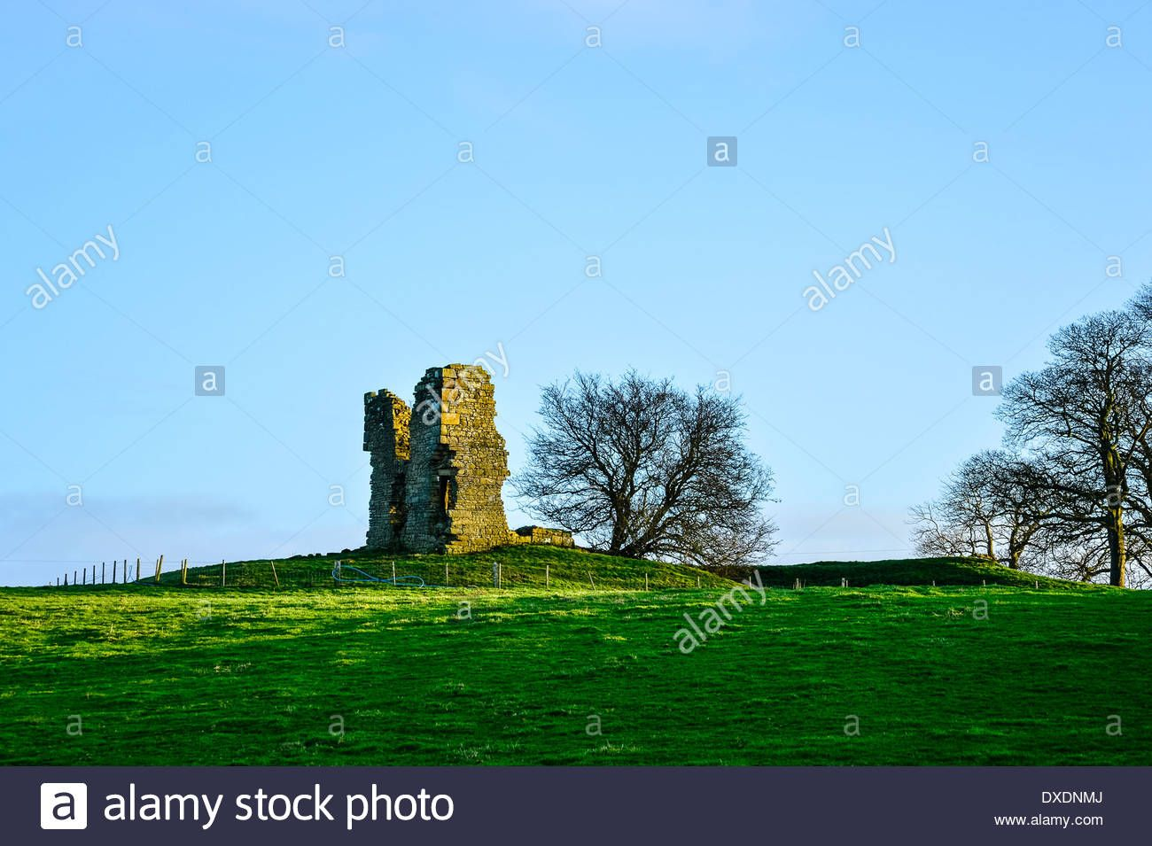 Remains of Greenhalgh Castle at Garstang Lancashire Stock Photo