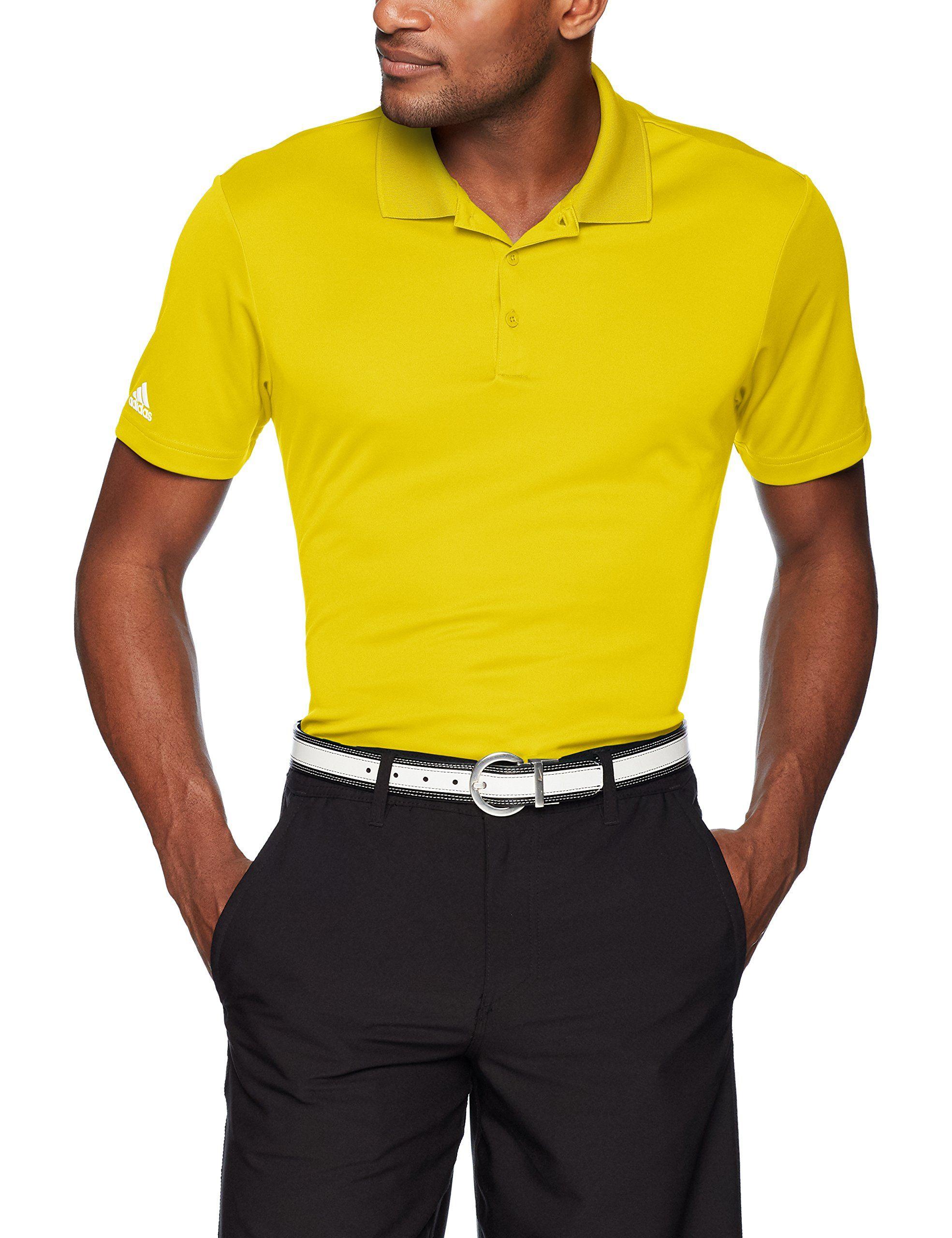 Men Golf Clothing Adidas Golf Performance Polo Bright Yellow Xlarge Mens Shirt Dress Mens Shirts Adidas Men