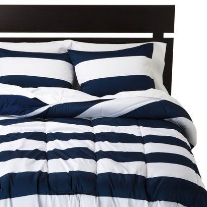 Room Essentials Rugby Comforter Blue White Room Essentials Stripe Bedding White Comforter
