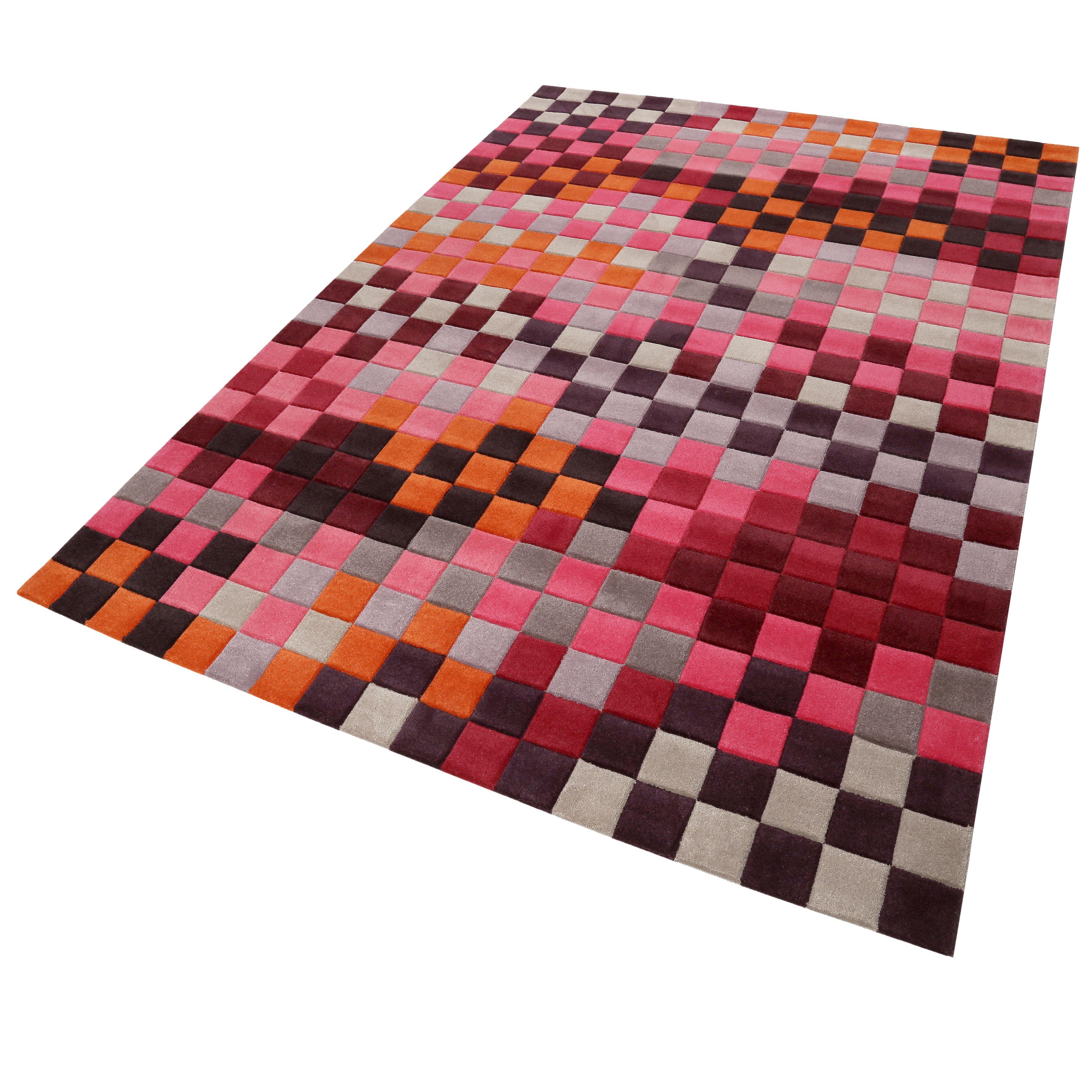 Esprit Kurzflor Teppich Aus Wolle Pixel Rot Orange Grau Silber Pink Orange Grau Teppich Kurzflor Teppiche