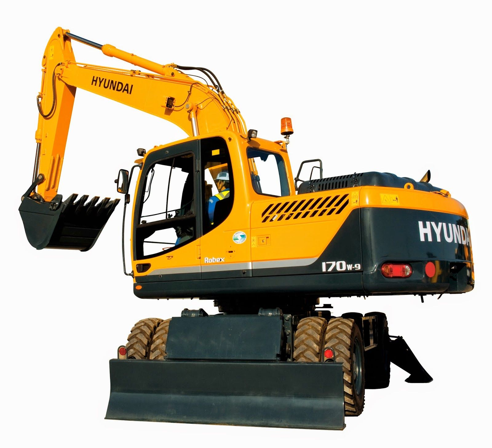 Hyundai Excavators R170W-9 - Alat Berat R170W-9 WHEELED EXCAVATOR Powered  by the reliable, fuel efficient Cummins Tier III QSB6.7 engine, the R170  has the ...