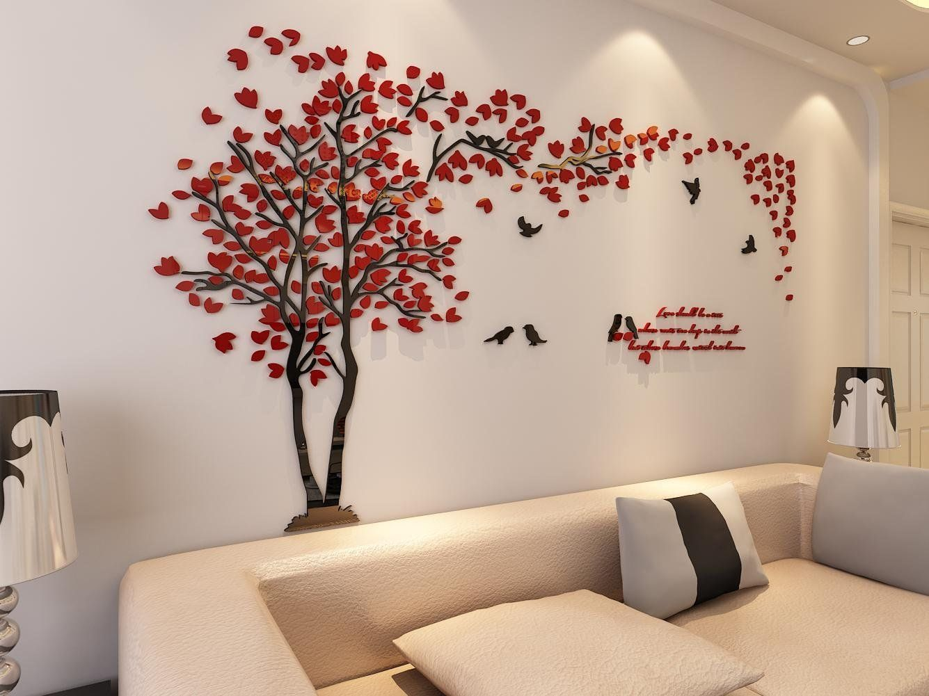 Bedroom Wall Art Trees Amazon 3d Couple Tree Wall Murals For Living Room