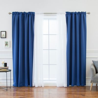 Decorinnovation Mix Match Voile 84 Blackout Window Curtain Panel Pair In Royal Blue