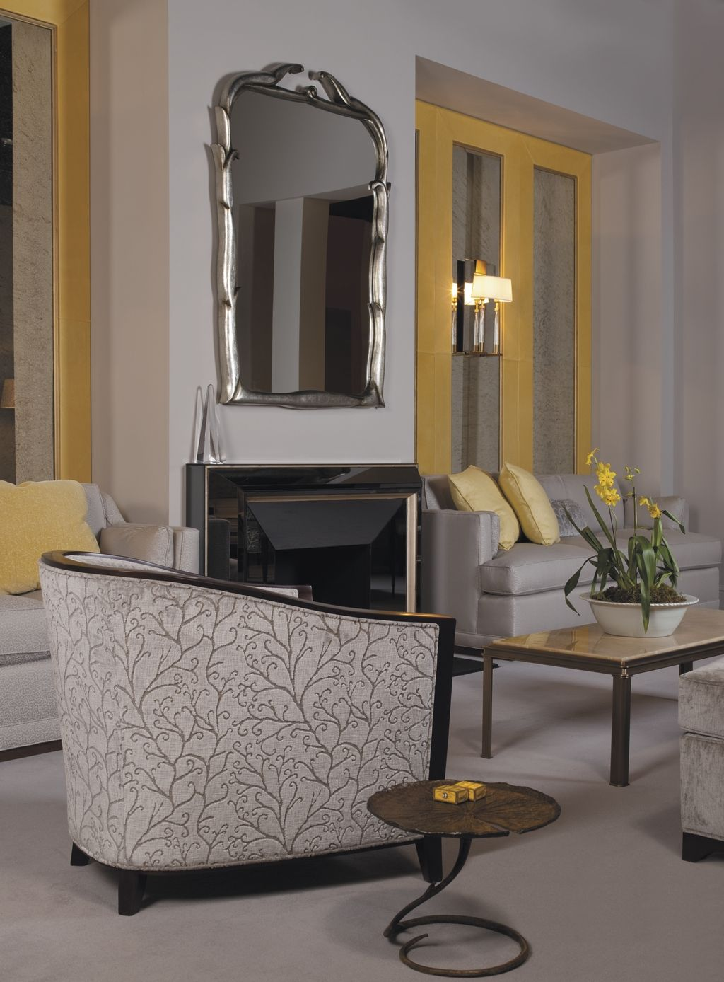 From The Baker Furniture Showroom In High Point Nc A Beautiful Yellow Gray E That Includes Bill Sofield S Lotus Table Savoy Mirror