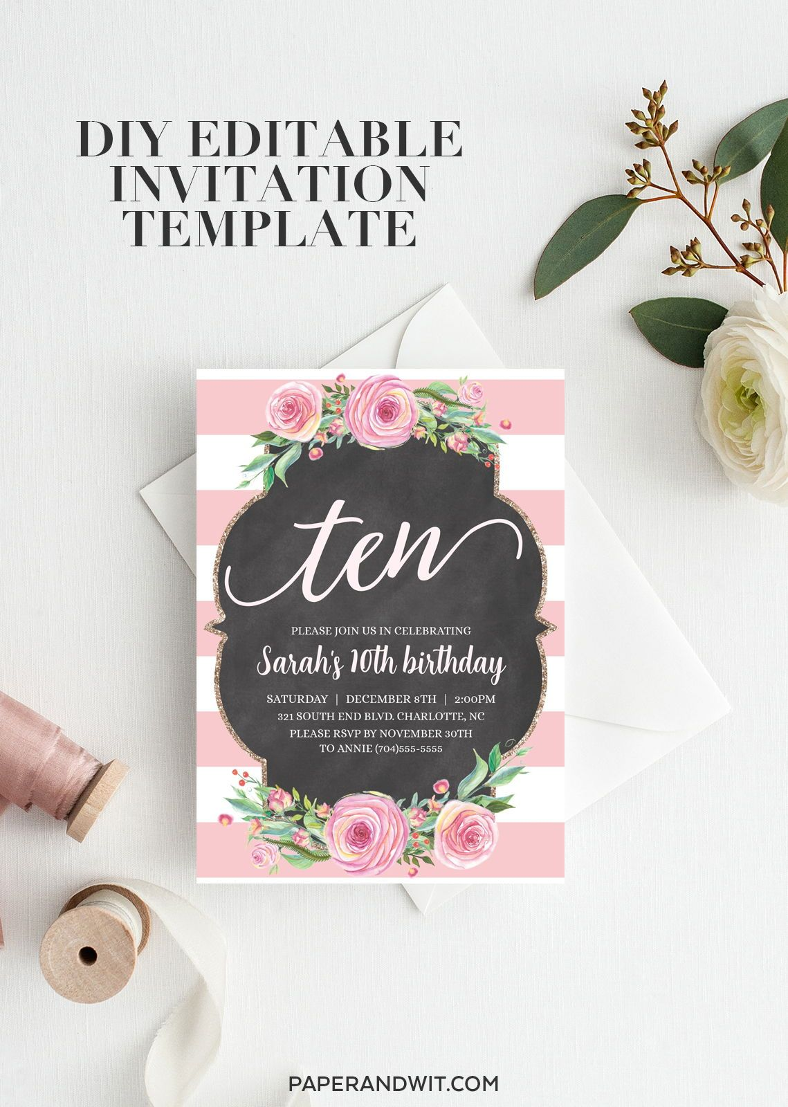 10th Birthday Invitations For Girls Digital Pink 10th Birthday