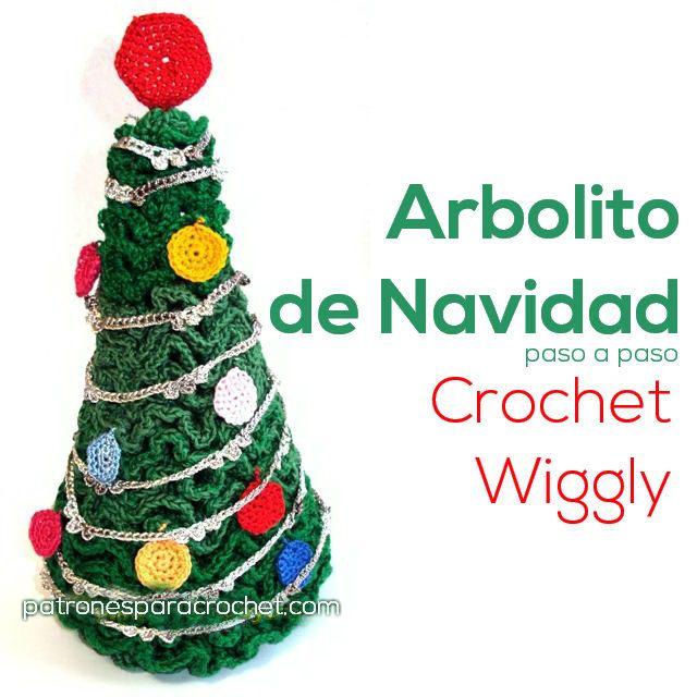 arbol de navidad tejido con wiggly crochet | NAVIDAD | Pinterest ...