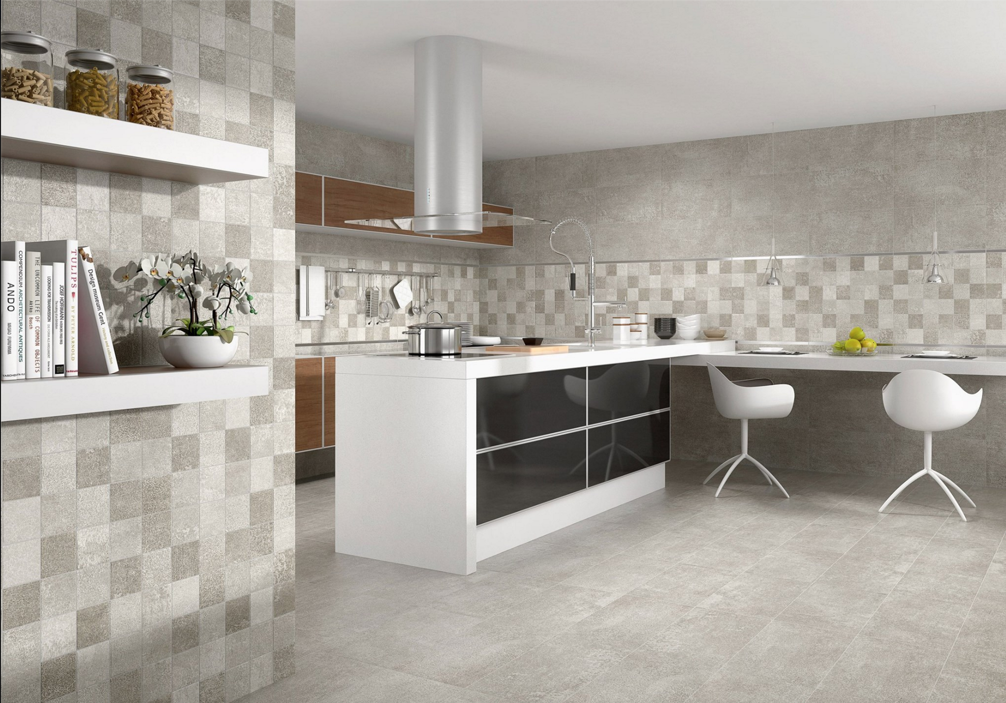 Cocina tipo isla color en blanco y puertas acabadas en for Suelo gris claro
