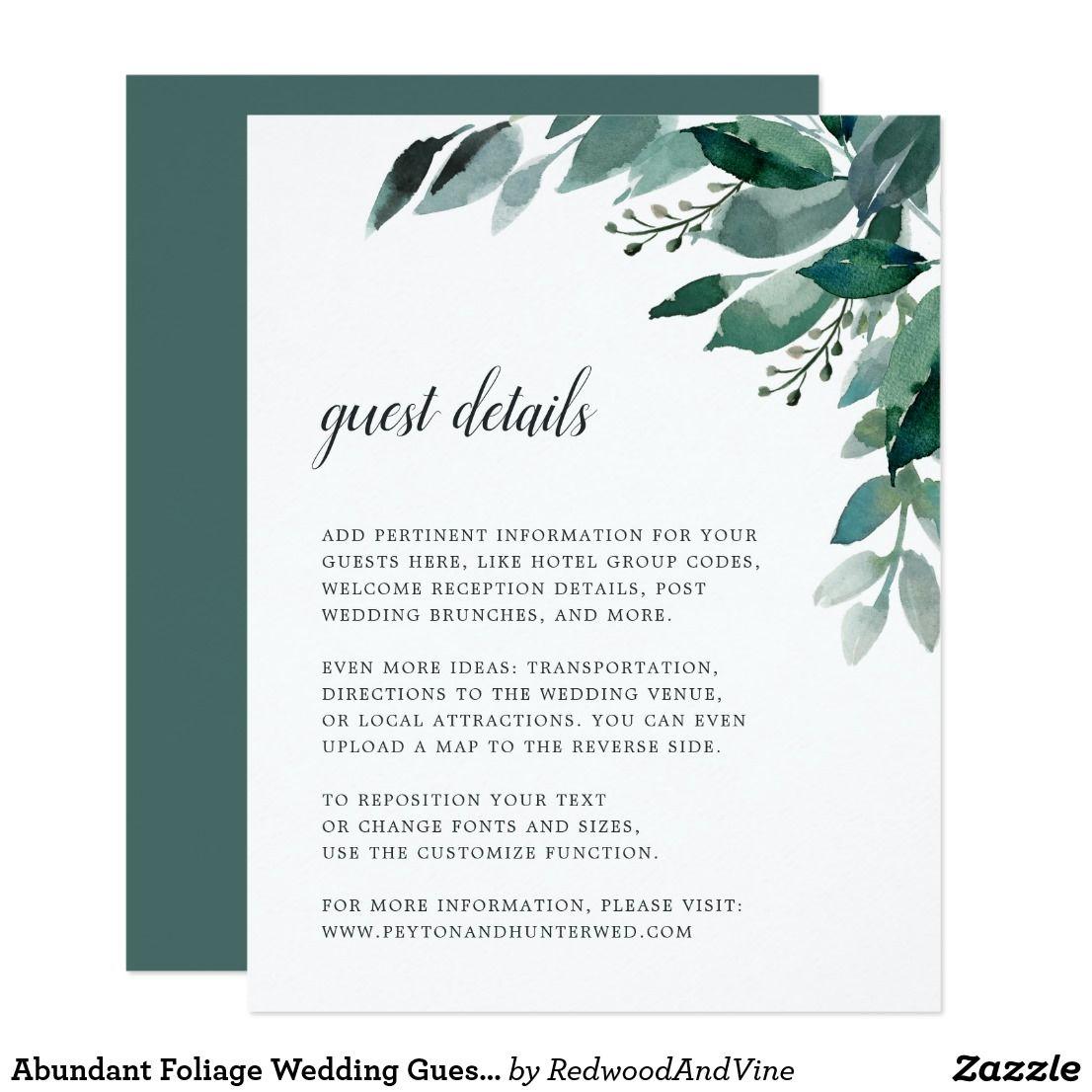 Abundant Foliage Wedding Guest Details Card Designed To Match Our Abundant Foliage Wedding Invitatio Foliage Wedding Wedding Invitation Inserts Wedding Website