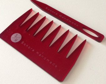 Deep glossy red weaving needle and comb from Sonora Handmade on Etsy.