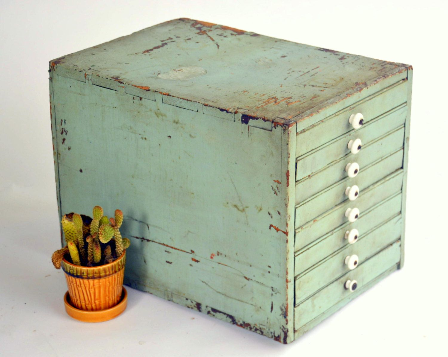 Rustic Homemade Wooden Organizer Cabinet Antique Pastel Green 8
