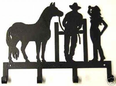 Horse Cowboy Cowgirl Key Holder Western Metal Art Lodge Wall Decor