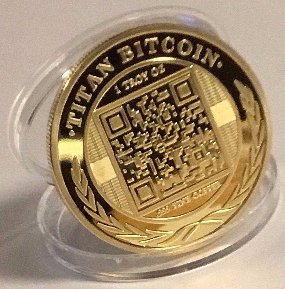 BITCOINS Gold Plated 999 Fine Copper Titan Commemorative Physical Bitcoin