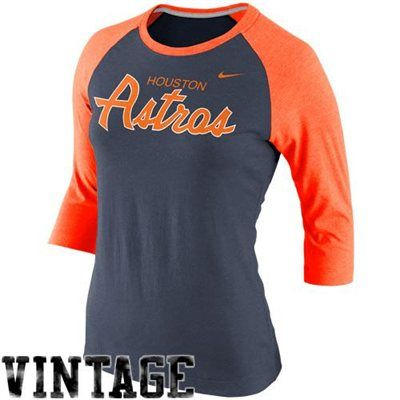 Nike Houston Astros Ladies Cooperstown Collection Three Quarter Sleeve Tri Blend T Shirt Navy Blue Orange Detroit Tigers Apparel Sport Outfits Apparel