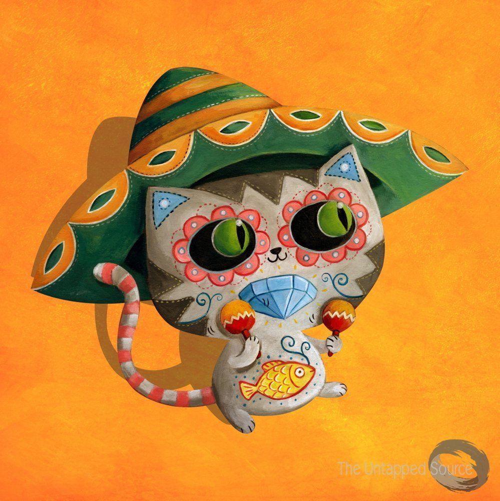 Mexican Cat in Sombrero - by Monika Suska | Animal Art | Pinterest ...
