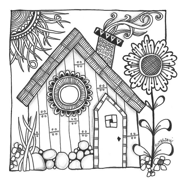 Harry S Cottage By Ruth Davis On Flickr Coloring Books Doodle Art Coloring Pages