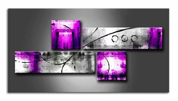 MS_001 / Cuadro Abstracto gris y lila