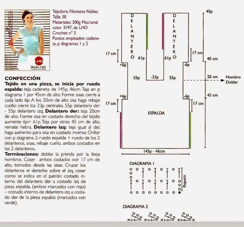 Top chaleco rectangular de una pieza - Patrones Crochet | Knit and ...