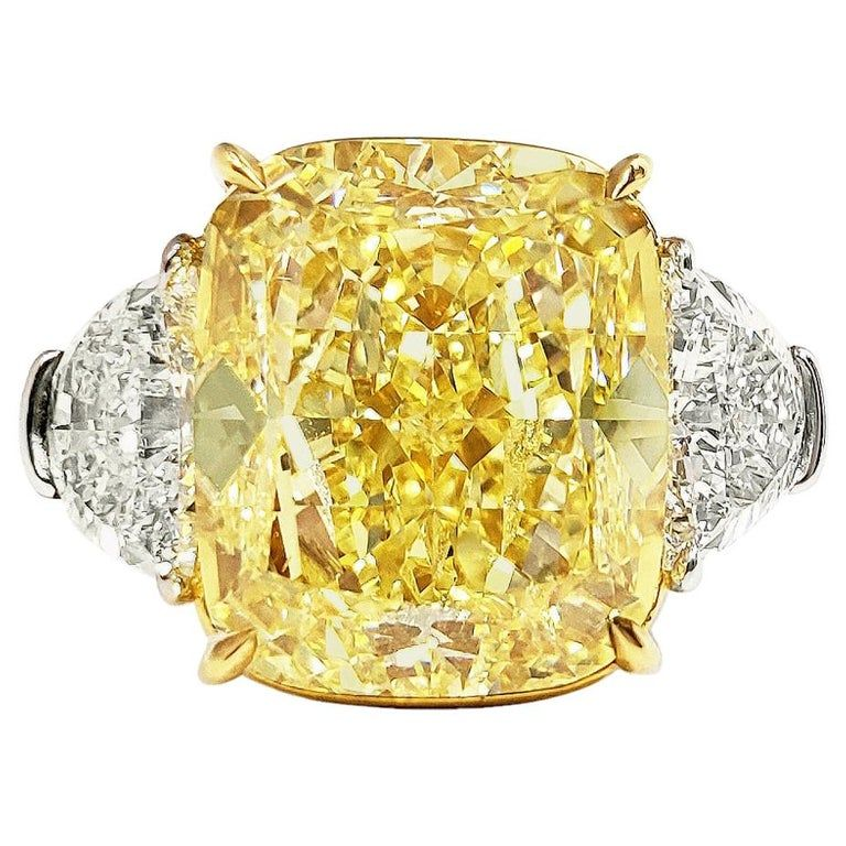 10 Carat Fancy Intense Yellow Diamond Ring Gia Certified Yellow Diamond Rings Fabulous Engagement Rings Yellow Diamond