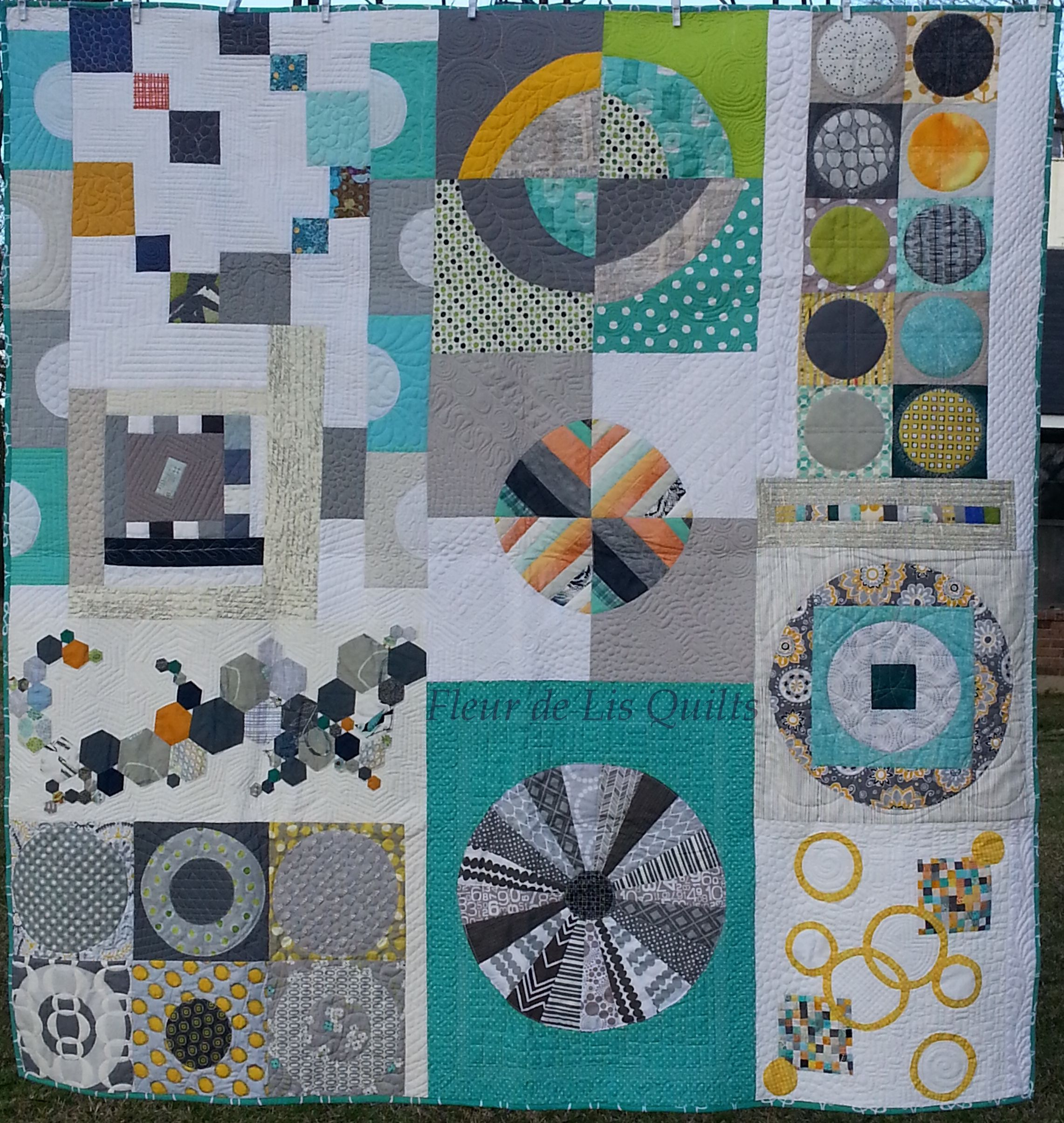 Finished! My Louisiana Traveling Quilt is quilted and bound and ... : quilting individual blocks - Adamdwight.com