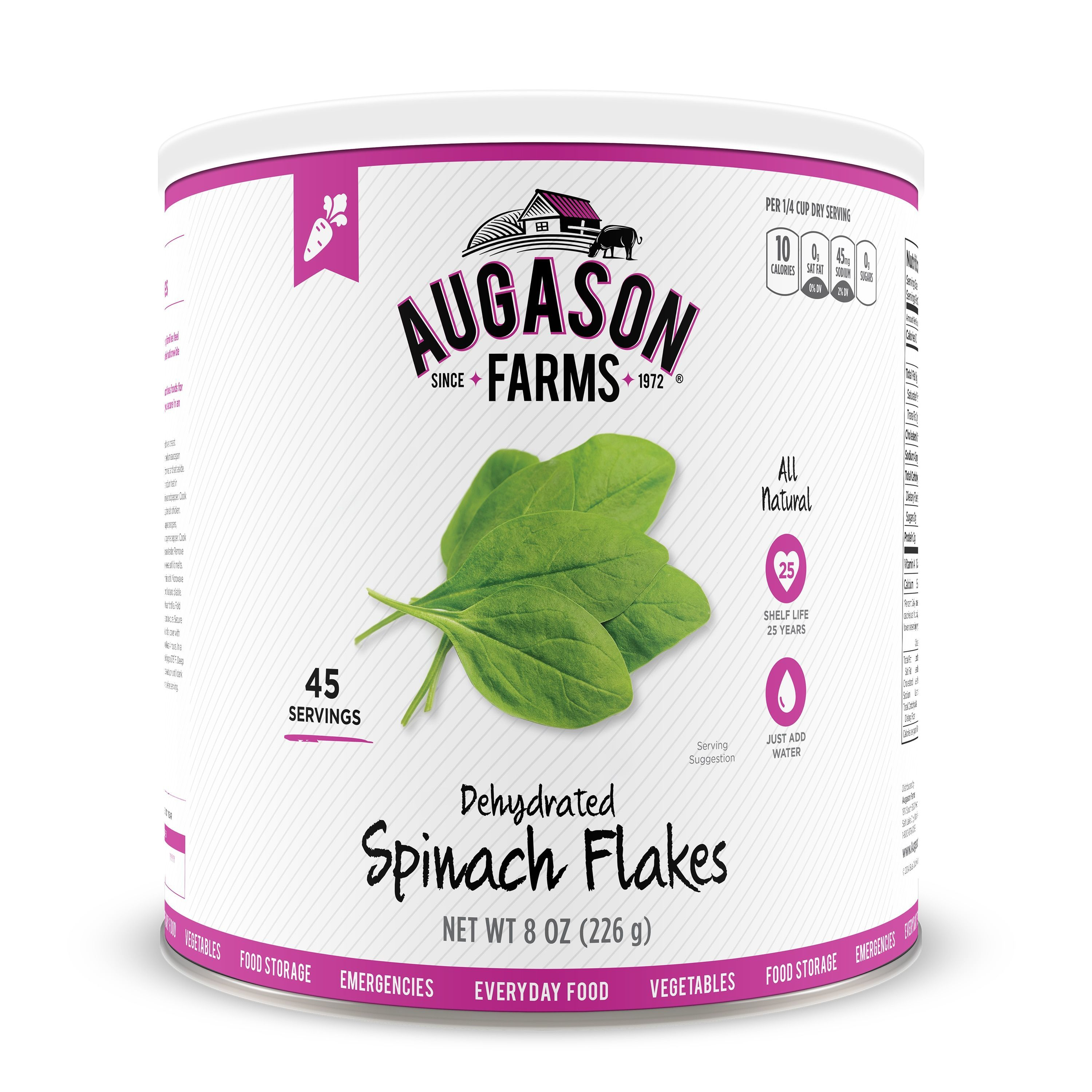 Augason farms dehydrated spinach flakes 8 oz no 10 can