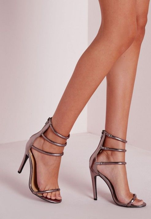 30117539955b Four Strap Barely There Sandals Pewter - Shoes - High Heels ...