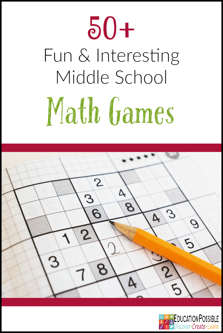 50+ Fun and Interesting Middle School Math Games is part of Math games middle school, Middle school math, Junior high math, Homeschool math, High school math, Learn math online - Looking for games to help you review math concepts  These 50+ fun and interesting middle school math games will teach and challenge your junior high student