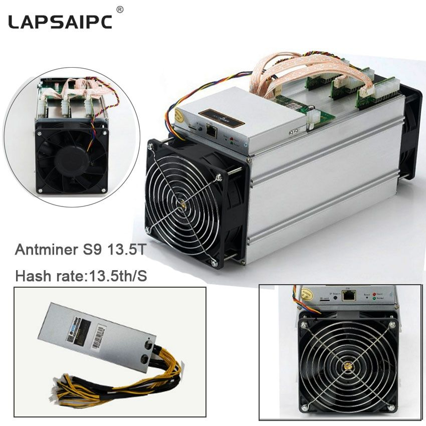 Lapsaipc Bitcoin AntMiner S9 13.5T Machine Miner ASIC BTC