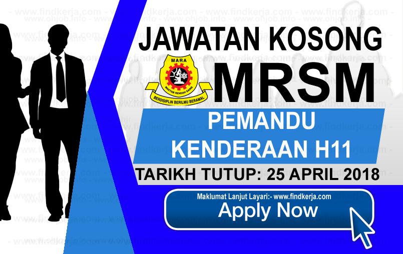 Kerja Kosong MRSM Maktab Rendah Sains MARA (25 April