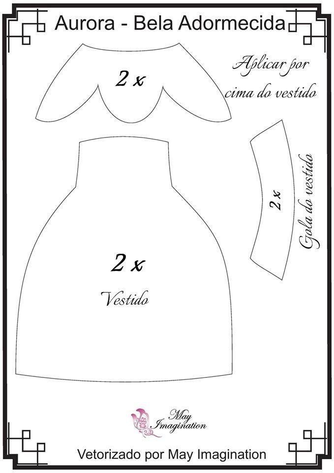 Molde Bela Adormecida em feltro: Vestido, detalhe da saia do vestido e gola.