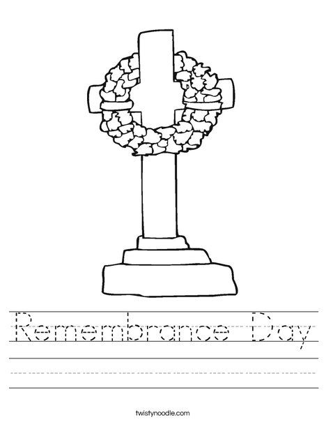 Remembrance Day Worksheet Twisty Noodle Letter Of The Week