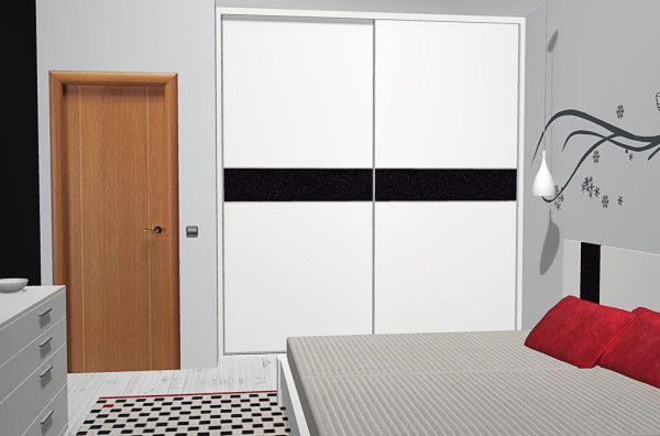 Armario de dos puertas correderas en color Blanco con franja Negra en el dormitorio moderno con muebles fabricados en España