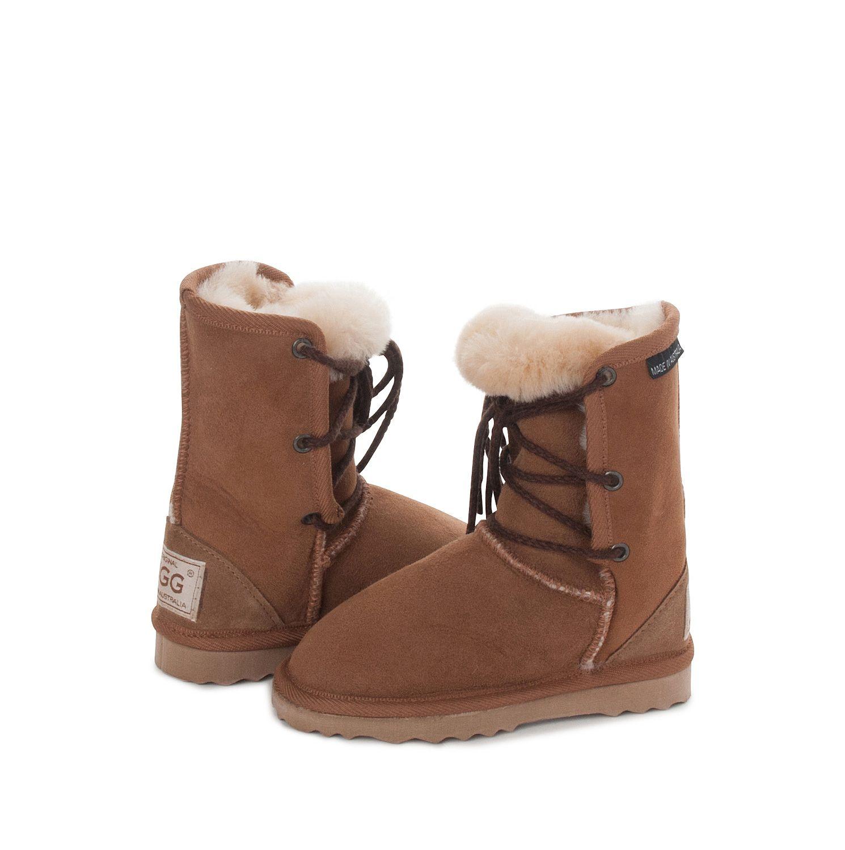 Chestnut Kids Lacey UGG Boots #chestnut #aussie #ugg #uggboots #australian #australia #sheepskin #boots #laces #kids