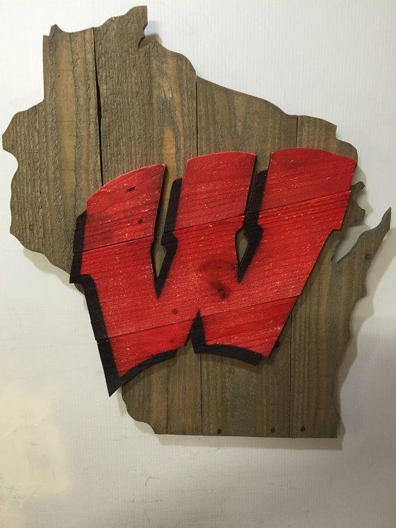 wisconsin badgers wooden sign
