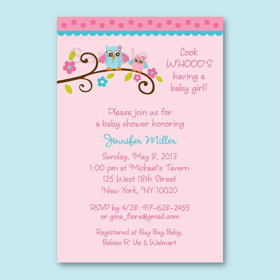 Mod Owl Girl Pink Turquoise Baby Shower Invitation Print