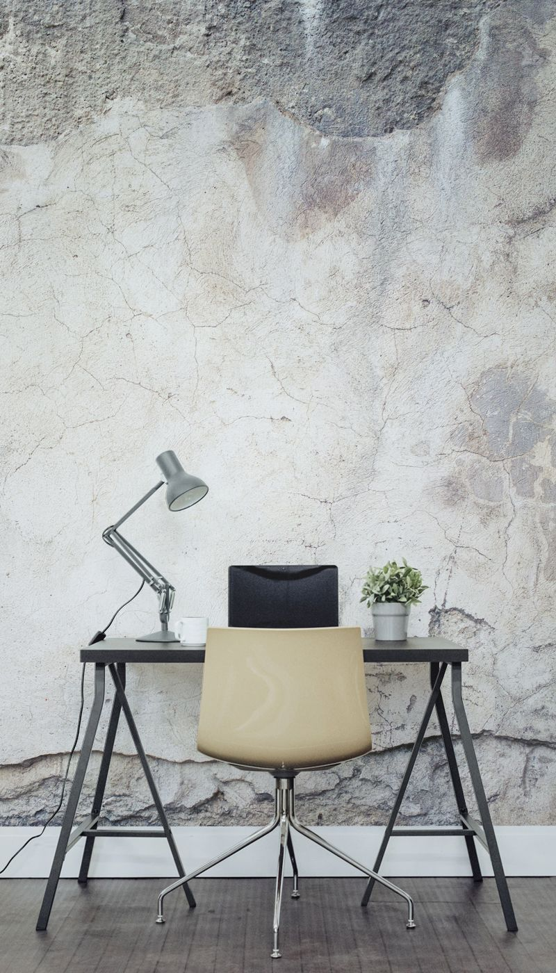 wallpaper for home office. this concrete effect wallpaper works so well in a home office for